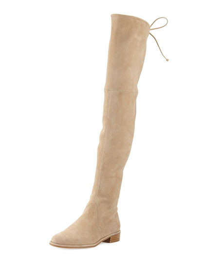 Stuart Weitzman Lowland Suede Over-the-Knee Boot, Buff