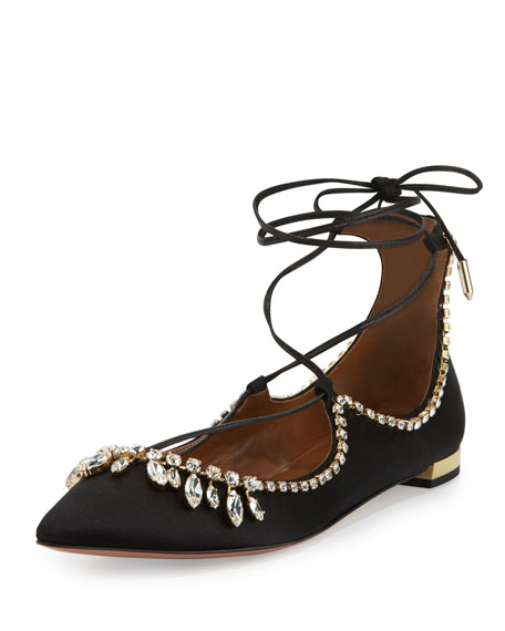 Aquazzura Christy Crystal Lace-Up Pointed-Toe Flat, Black