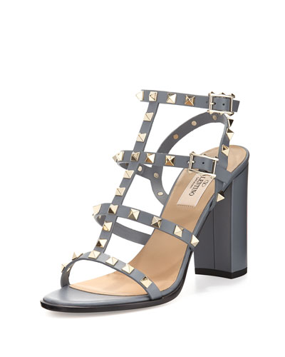 Rockstud Leather 90mm City Sandal, Light Stone