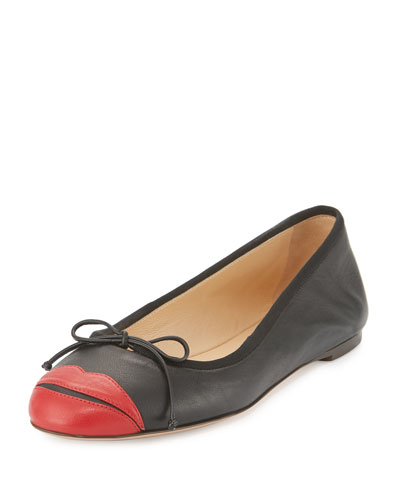 Kiss Me Darcy Leather Flat, Black/Red