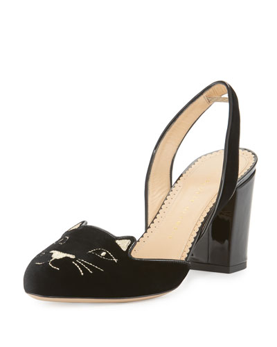 Kitty Velvet 75mm Slingback Pump, Black