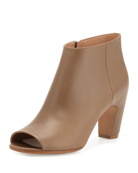 Maison Margiela Open-Toe Leather 75mm Bootie, Olive