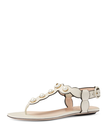 Gucci Willow Pearly Thong Sandal, White