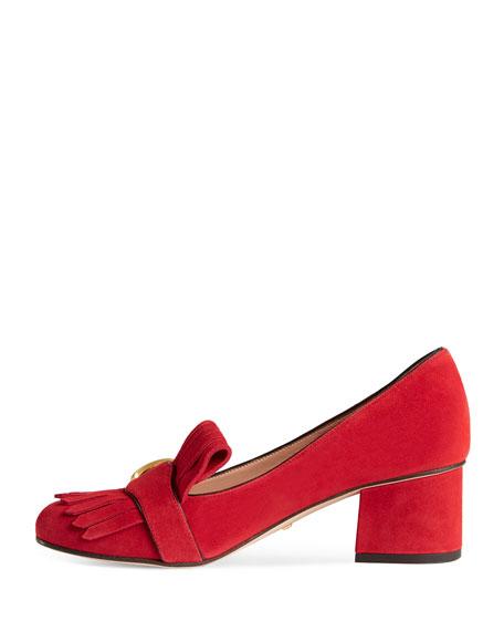 Marmont Fringe Suede 55mm Loafer, Red