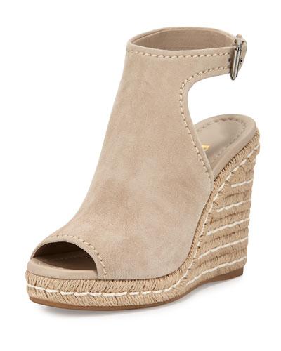 Suede Open-Toe Espadrille Glove Sandal, Quartz (Quarzo)