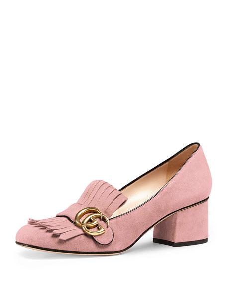 Gucci Marmont Fringe Suede 55mm Loafer, Crystal Pink
