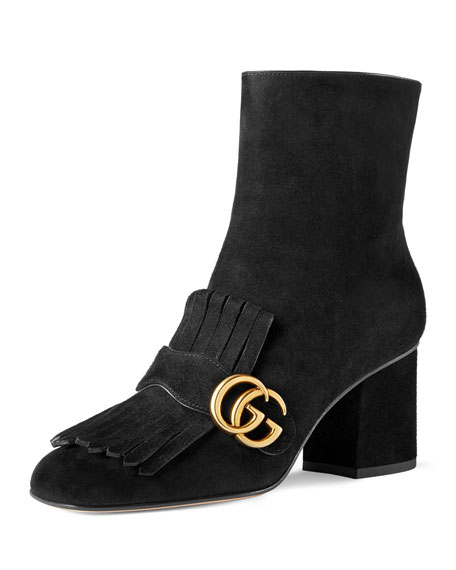 Gucci Marmont Suede 75mm Ankle Boot, Black