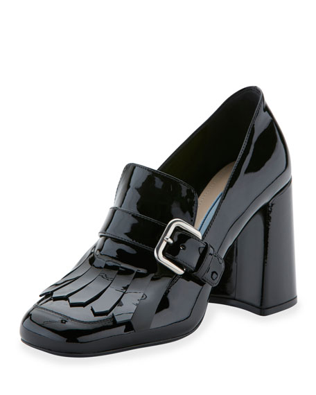 Patent Leather Kiltie 85mm Pump, Nero