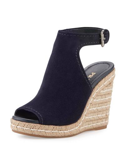 Suede Open-Toe Espadrille Glove Sandal, Blue (Bleu)