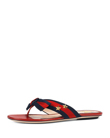 Gucci Studded Grosgrain Web Thong Sandal, Red