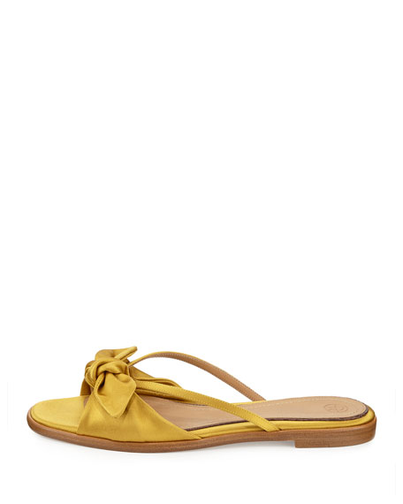 THE ROW April Bow Satin Slide Sandal, Topaz