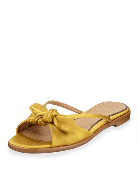 April Bow Satin Slide Sandal, Topaz
