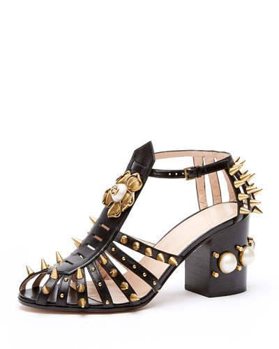 Kendall Leather Studded Sandal, Black