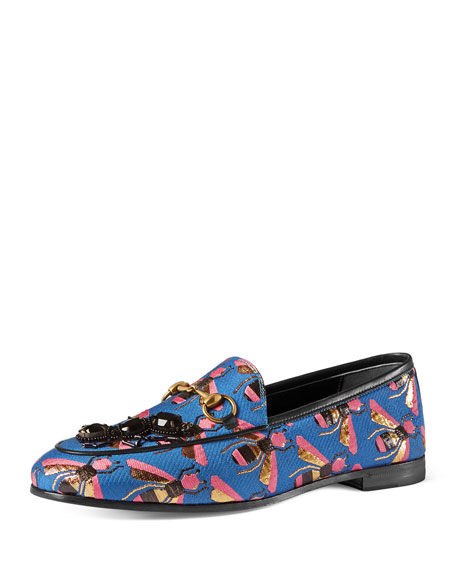 Gucci New Jordaan Bee-Jacquard Loafer, Multi