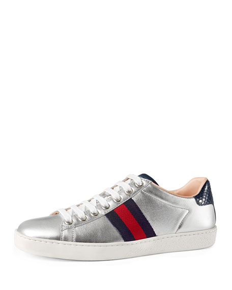New Ace Leather Low-Top Sneakers, Silver