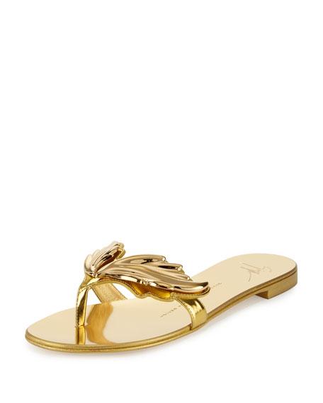 Giuseppe Zanotti Wings Metallic Flat Thong Sandal, Oro