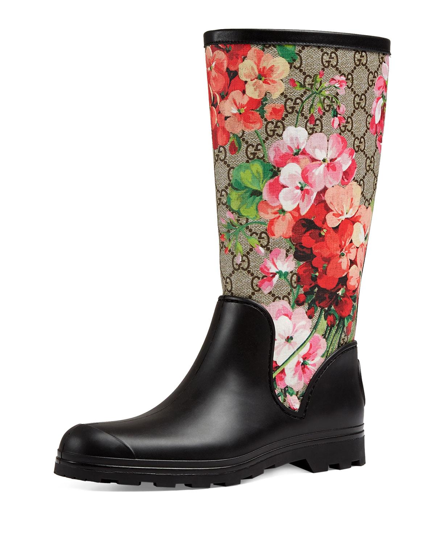 Gucci Prato GG Blooms Rain Boot, Multi