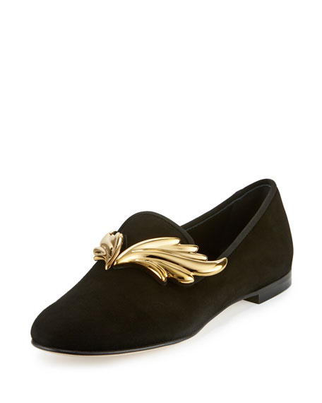 Giuseppe ZanottiDalila Wings Suede Smoking Slipper, Nero/Oro