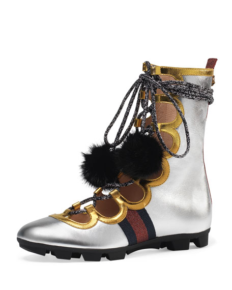 Gucci Titan High Leather High-Top Sneaker, Silver
