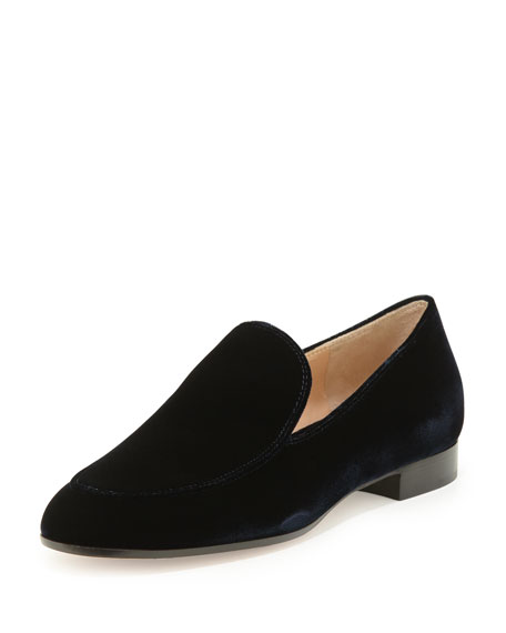 Gianvito Rossi Velvet Smoking Slipper, Denim