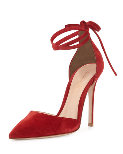 Suede Pointed-Toe Ankle-Wrap Pump, Granata