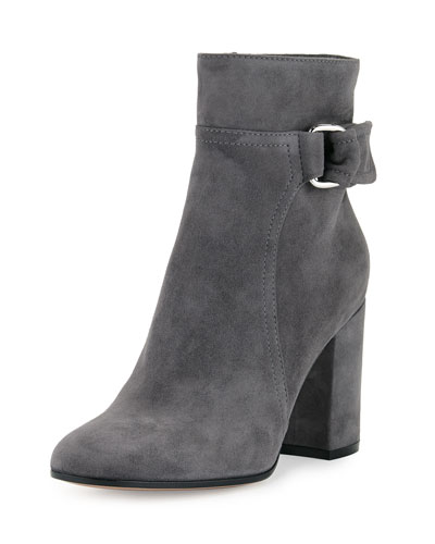 Suede 85mm Block-Heel Boot, Lapis