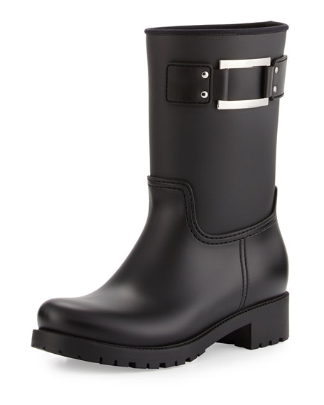 Roger Vivier Buckle Rubber Rain Boot, Black