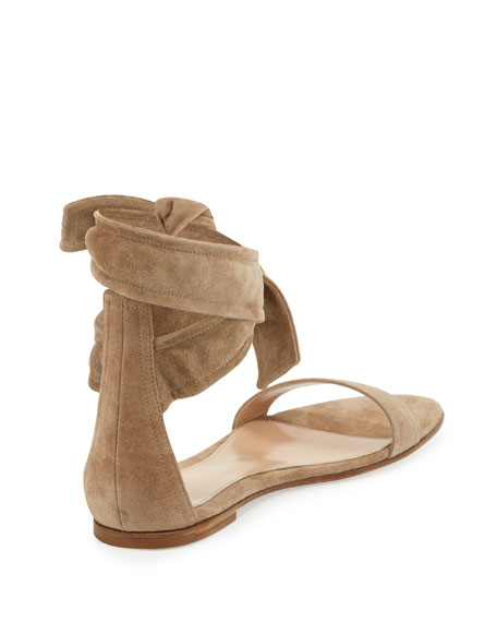 Beverly Suede Ankle-Tie Flat Sandal, Bisque