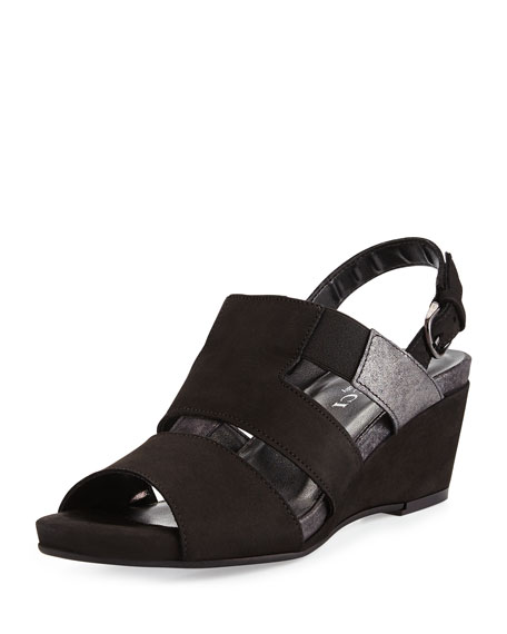 Sesto Meucci Kaleo Leather Wedge Sandal, Black