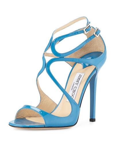 Lang Patent Strappy 100mm Sandal, Robot Blue