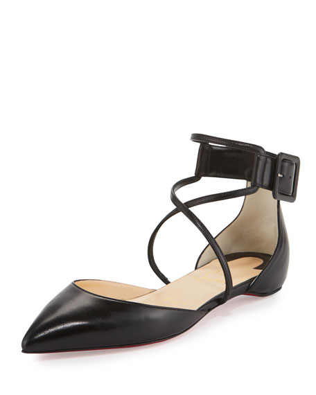 Christian Louboutin Suzanna Leather Crisscross Red Sole Flat,