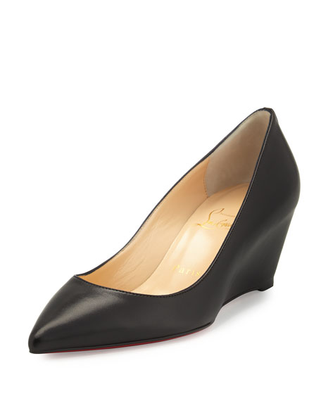 Christian Louboutin Pipina Leather 55mm Wedge Red Sole
