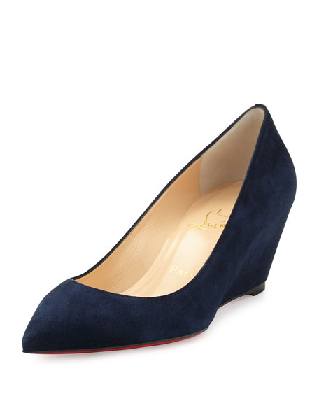 Christian Louboutin Pipina Suede 55mm Wedge Pump, Night