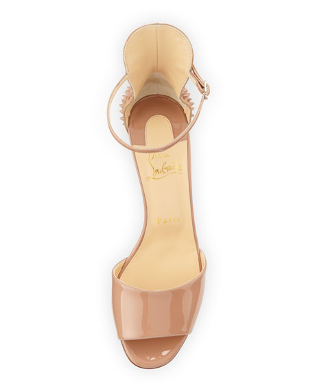 Trezanita Spiked-Heel Red Sole Sandal, Nude