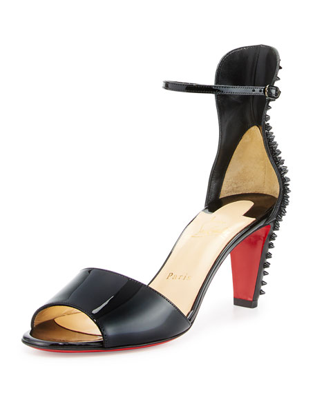 Christian Louboutin Trezanita Spiked-Heel 70mm Red Sole Sandal, Black
