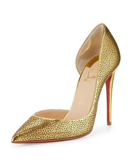 Christian LouboutinGalu Half-d'Orsay 100mm Red Sole Pump, Gold