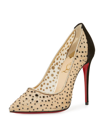 Follies Lace 100mm Red Sole Pump, Black/Natural