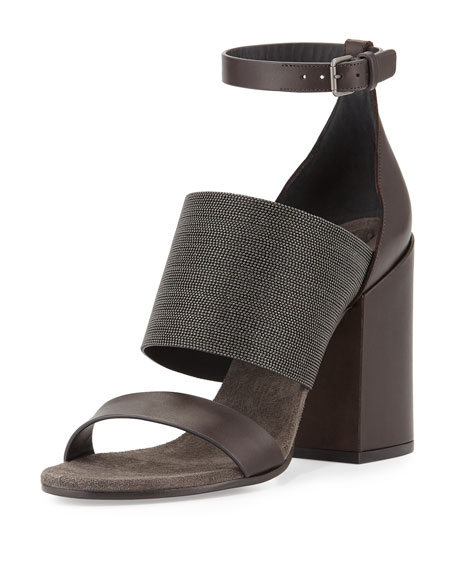 Brunello Cucinelli Monili Ankle-Wrap Chunky-Heel Sandal, Espresso