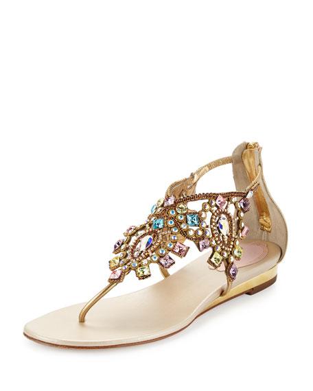 Rene Caovilla Jewel-Embellished Flat Thong Sandal, Multi/Gold