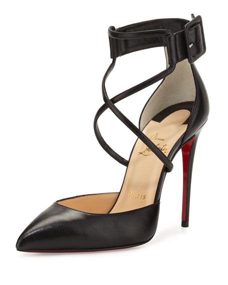 Christian Louboutin Suzanna Leather Crisscross Red Sole Pump,