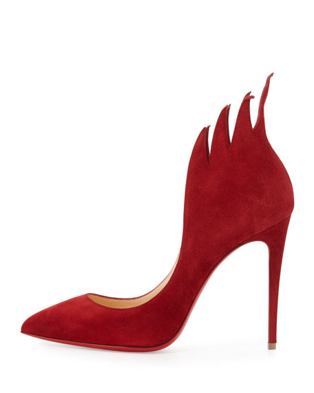 Victorina Flame 100mm Red Sole Pump, Carmine