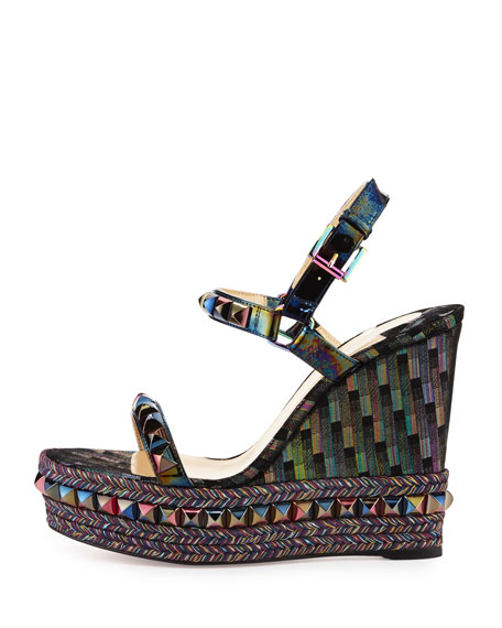 Cataclou Printed 120mm Wedge Red Sole Sandal, Multi