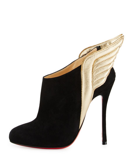 Mercura Wing 100mm Red Sole Bootie, Black/Light Gold
