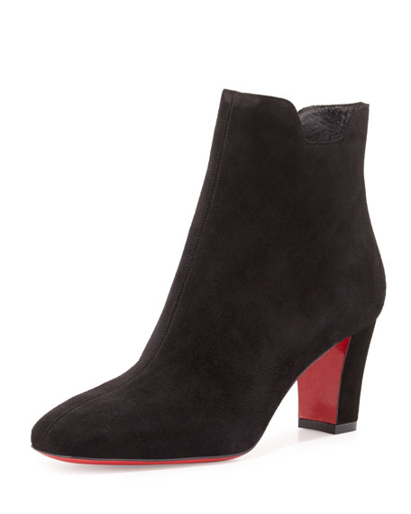 louboutin black spikes - Christian Louboutin Mandolina Laser-Cut Mesh Red Sole Bootie, Black