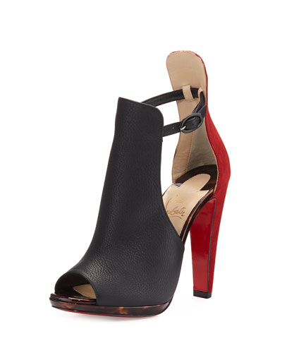 Barabara Peep-Toe 120mm Red Sole Bootie, Testa di Morro
