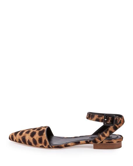 Lara Calf-Hair Ankle-Wrap d'Orsay Flat, Black/Natural Leopard