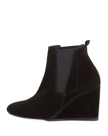 lanvin suede wedge chelsea boot black