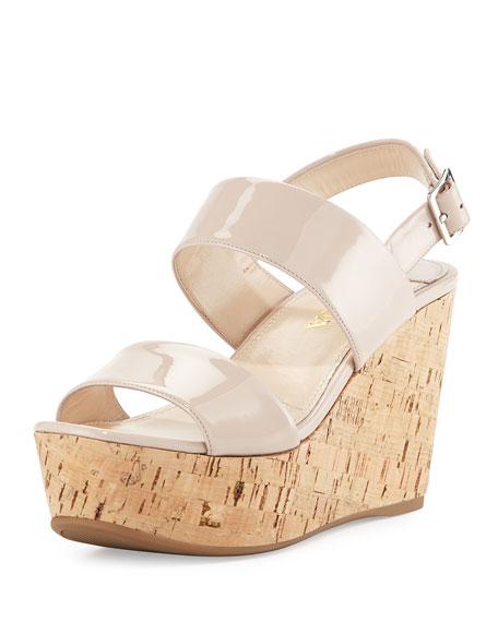 Prada Patent Platform Espadrille Sandal, Cipria