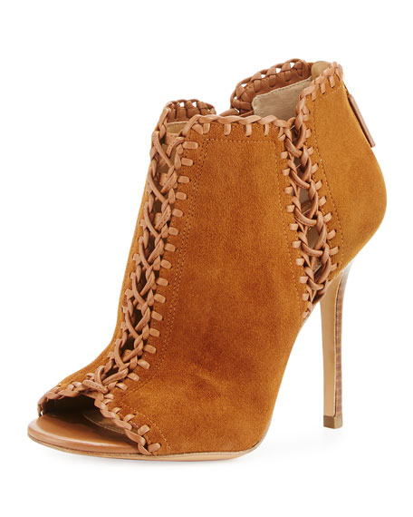 Henley Whipstitch Peep-Toe Bootie, Dark Luggage