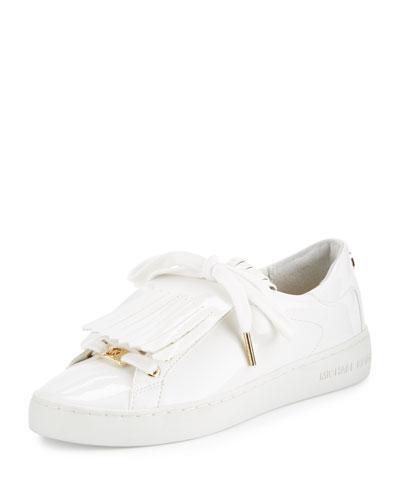 Keaton Kiltie Faux-Patent Sneaker, Optic White